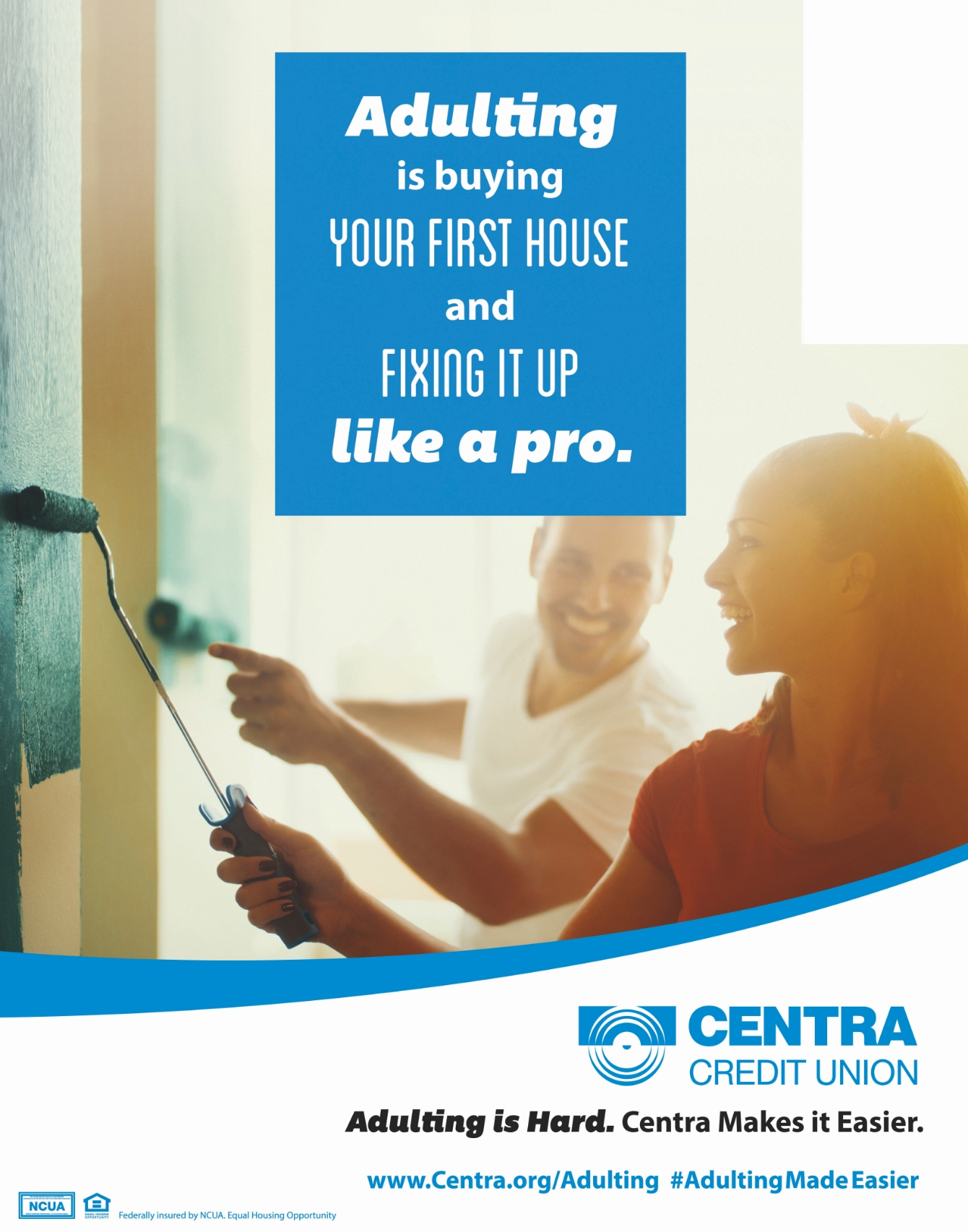 Centra Credit Union poster featuring man and woman painting.