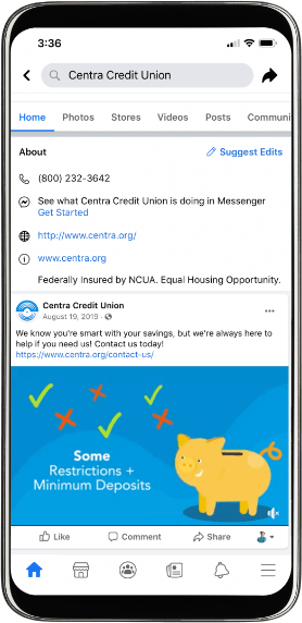 Centra Credit Union Facebook page on mobile.
