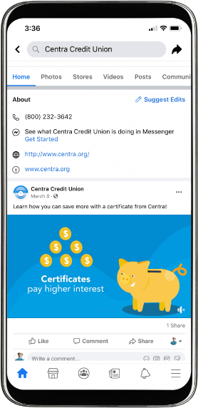 Centra Credit Union Facebook page on mobile second screenshot