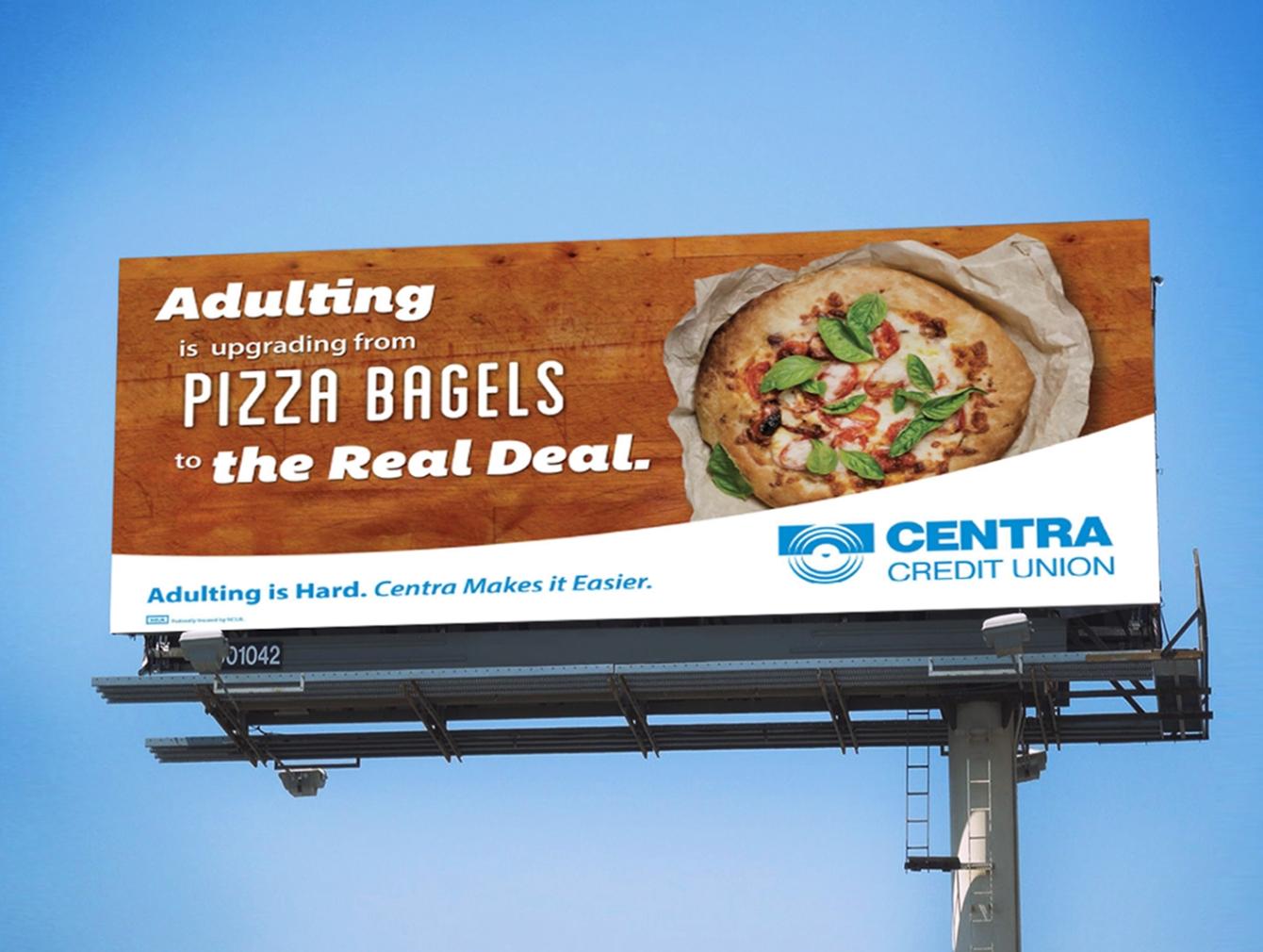 Centra Credit Union billboard featuring pizza.
