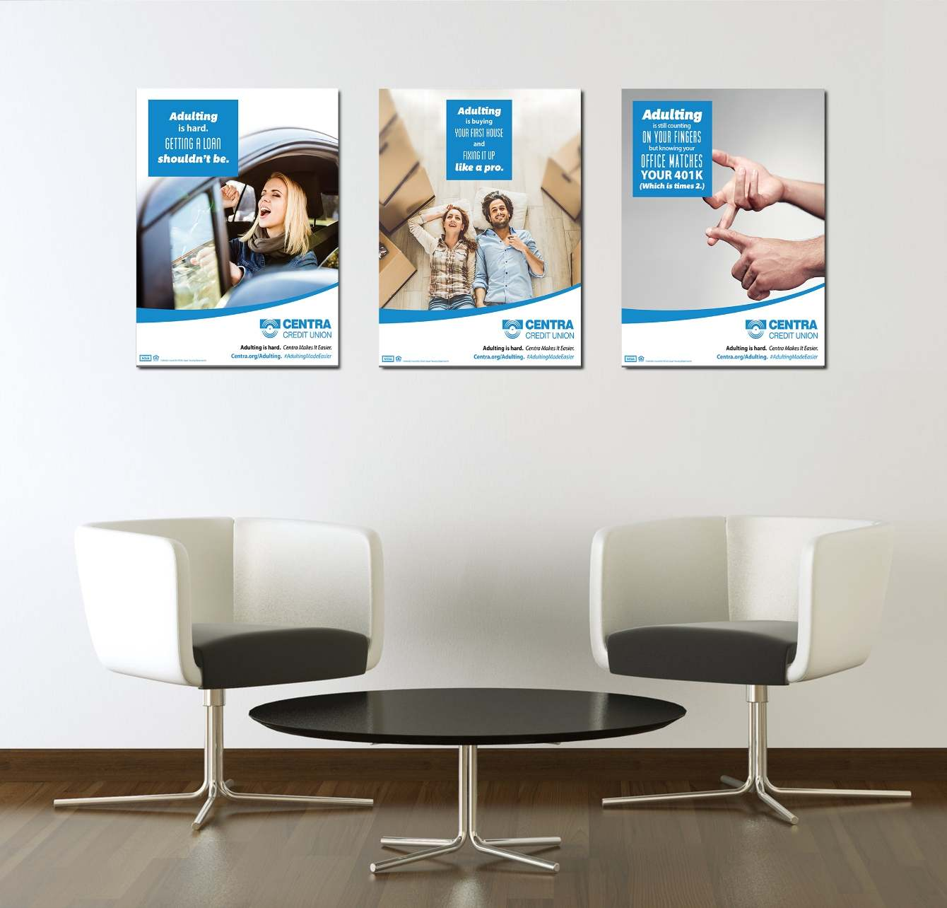 Centra Credit Union advertising posters above table and chairs.