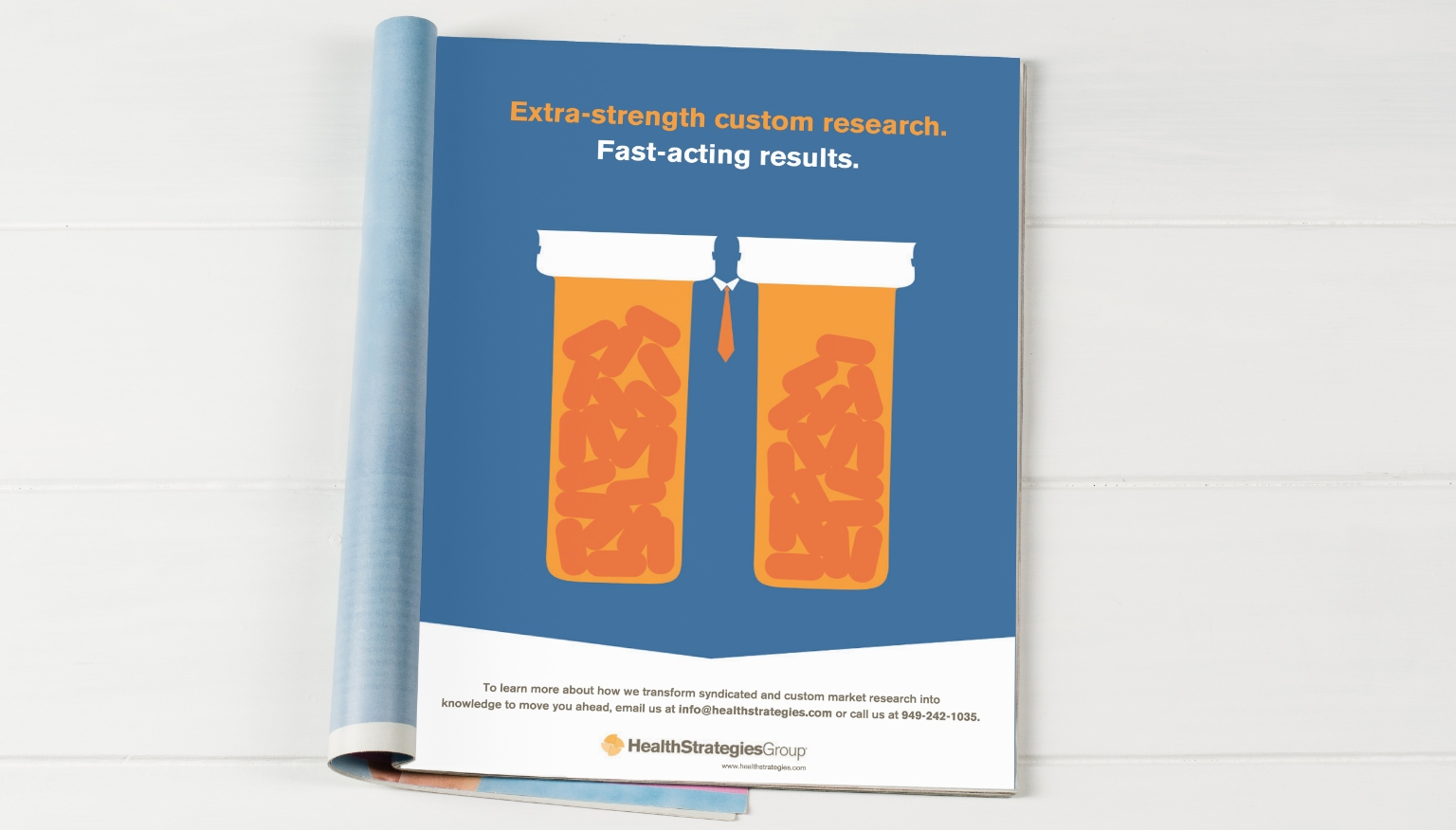 Health Strategies Group print ad with pill bottles.