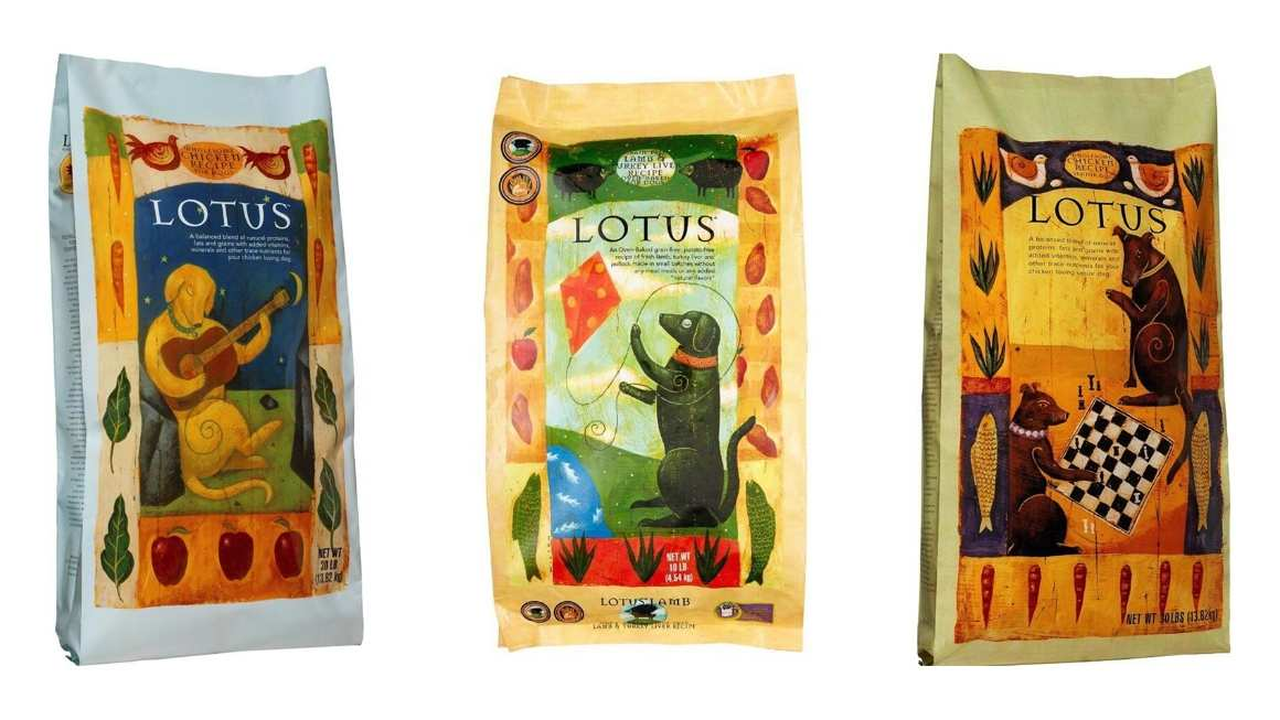 Lotus Pet Food by Centinela Feed & Pet dog food bags.